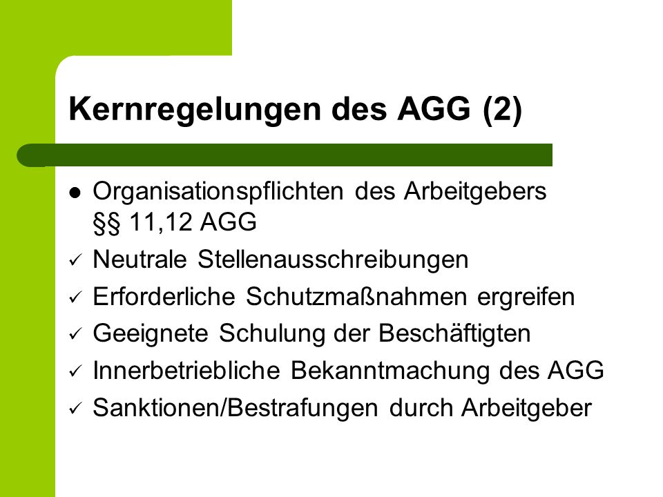 Kernregelungen des AGG (2)