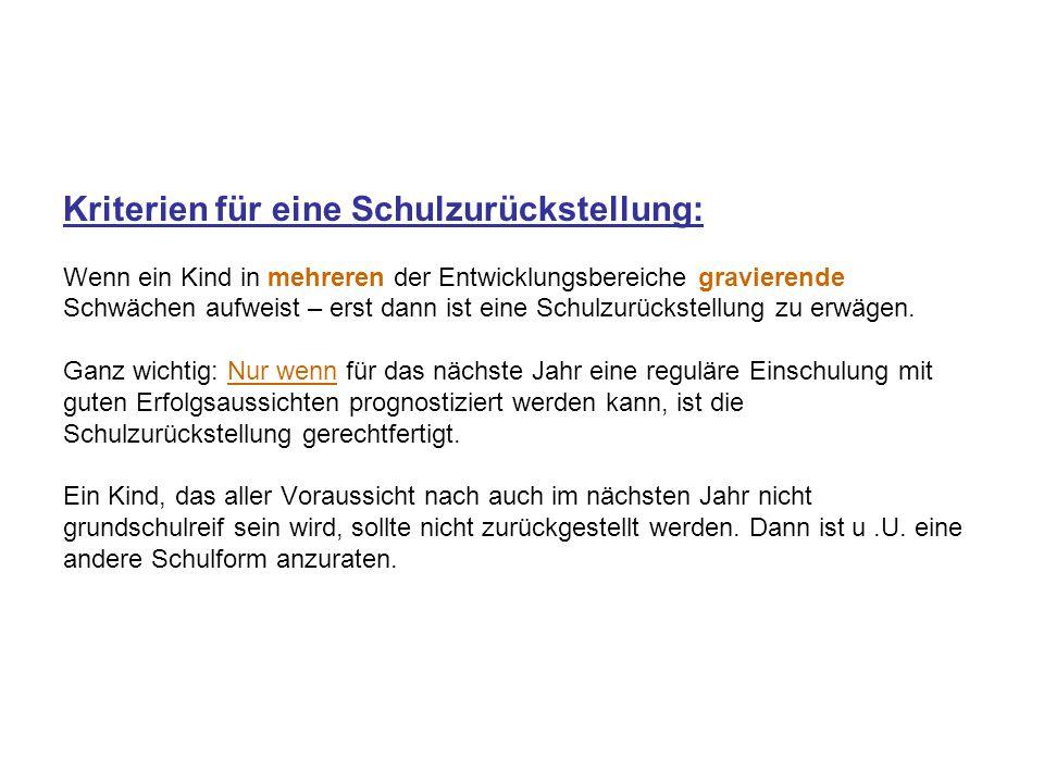 Kriterien für eine Schulzurückstellung: Wenn ein Kind in mehreren der Entwicklungsbereiche gravierende Schwächen aufweist – erst dann ist eine Schulzurückstellung zu erwägen.