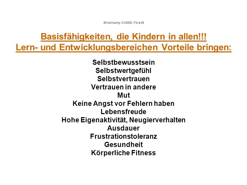 Einschulung - 01/2005 - Folie 25 Basisfähigkeiten, die Kindern in allen!!.