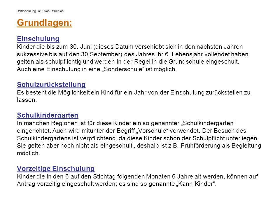 Einschulung - 01/2005 - Folie 05 Grundlagen: Einschulung Kinder die bis zum 30.