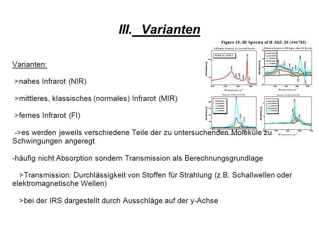 III. Varianten Varianten: >nahes Infrarot (NIR)
