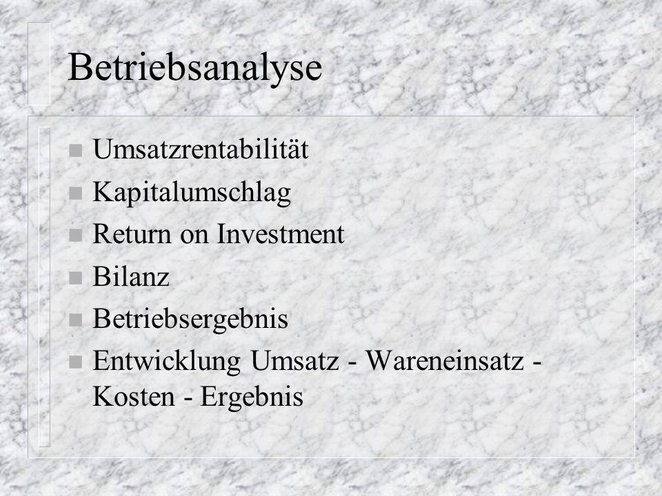 Betriebsanalyse Umsatzrentabilität Kapitalumschlag