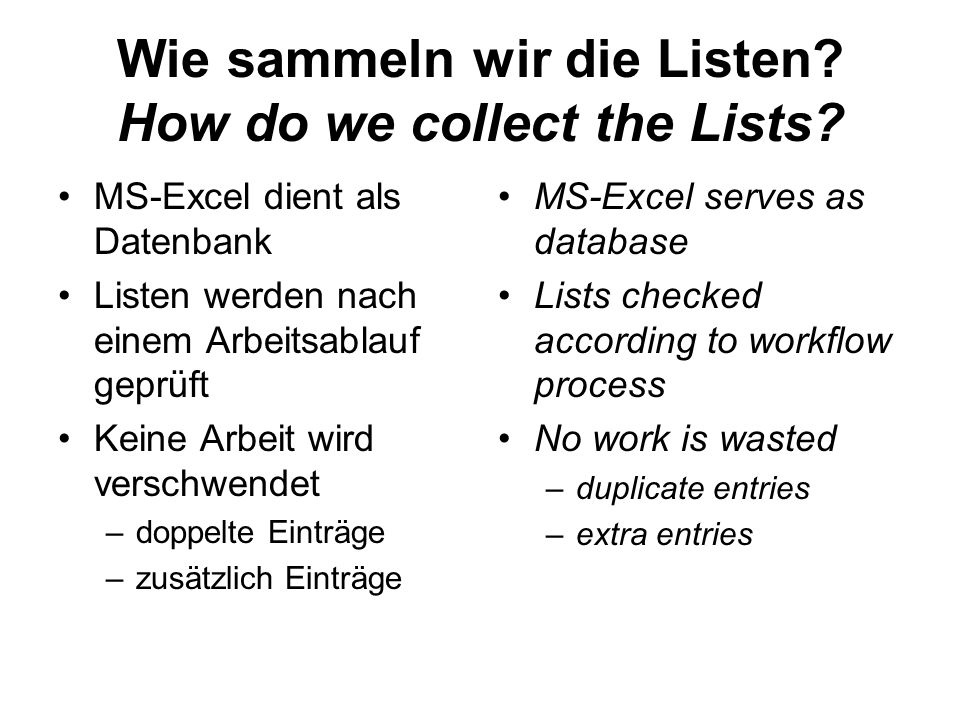 Wie sammeln wir die Listen How do we collect the Lists