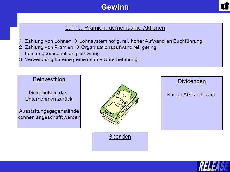 Gewinn Löhne, Prämien, gemeinsame Aktionen Reinvestition Dividenden