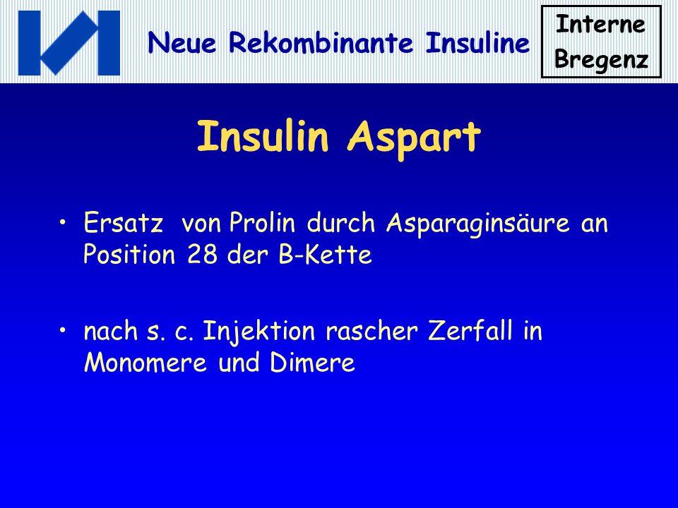 Insulin Aspart Ersatz von Prolin durch Asparaginsäure an Position 28 der B-Kette.