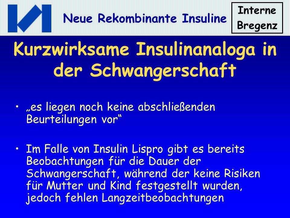 Kurzwirksame Insulinanaloga in der Schwangerschaft