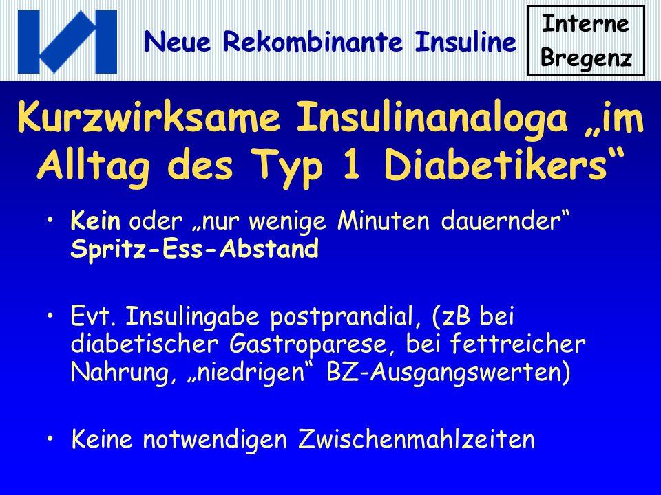 "Kurzwirksame Insulinanaloga ""im Alltag des Typ 1 Diabetikers"