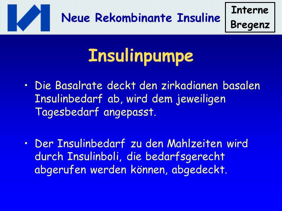 Insulinpumpe Die Basalrate deckt den zirkadianen basalen Insulinbedarf ab, wird dem jeweiligen Tagesbedarf angepasst.