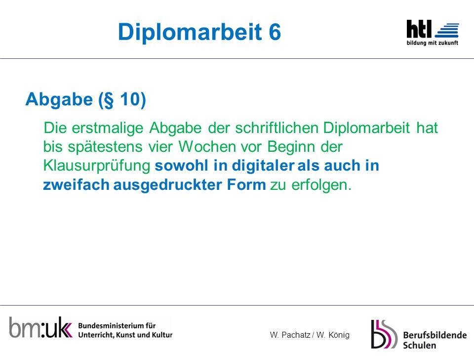 Diplomarbeit 6 Abgabe (§ 10)