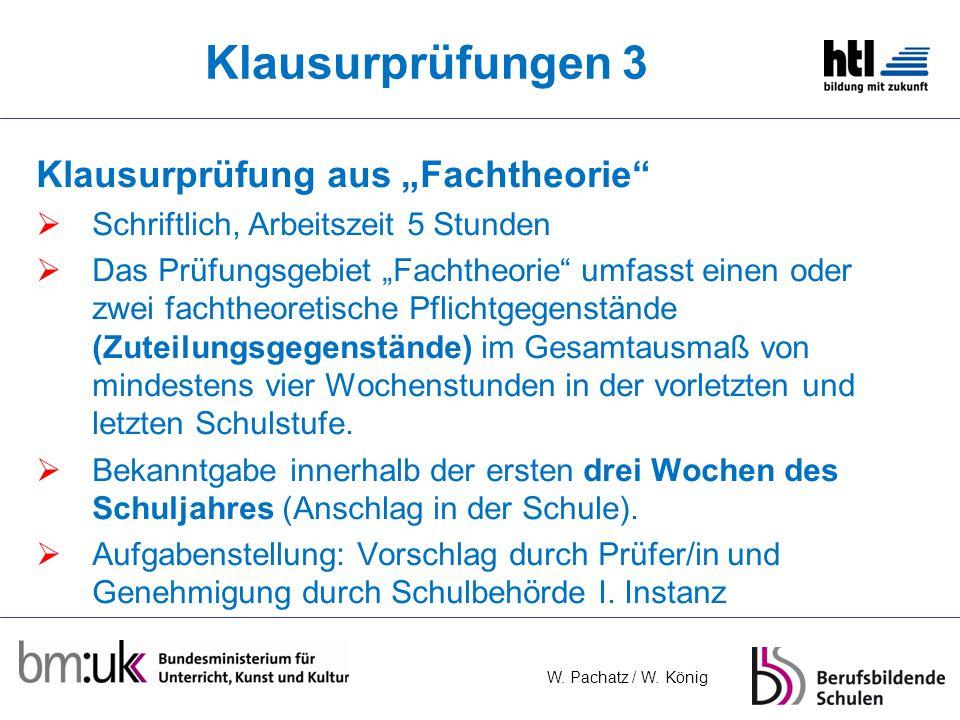 """Klausurprüfungen 3 Klausurprüfung aus """"Fachtheorie"""