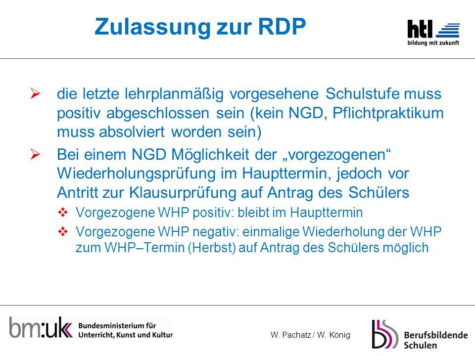 Zulassung zur RDP