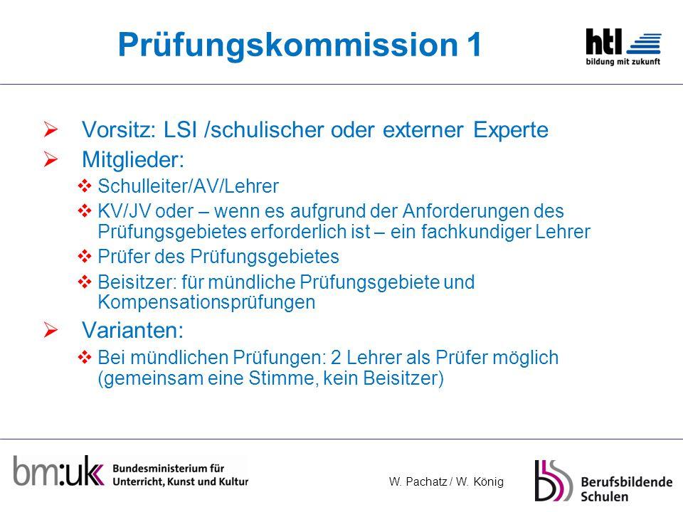 Prüfungskommission 1 Vorsitz: LSI /schulischer oder externer Experte