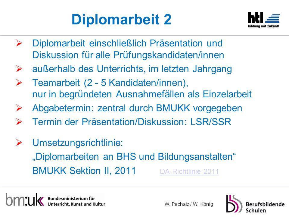 Diplomarbeit 2 Diplomarbeit einschließlich Präsentation und Diskussion für alle Prüfungskandidaten/innen.