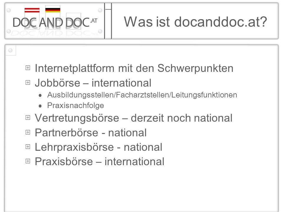 Was ist docanddoc.at Internetplattform mit den Schwerpunkten