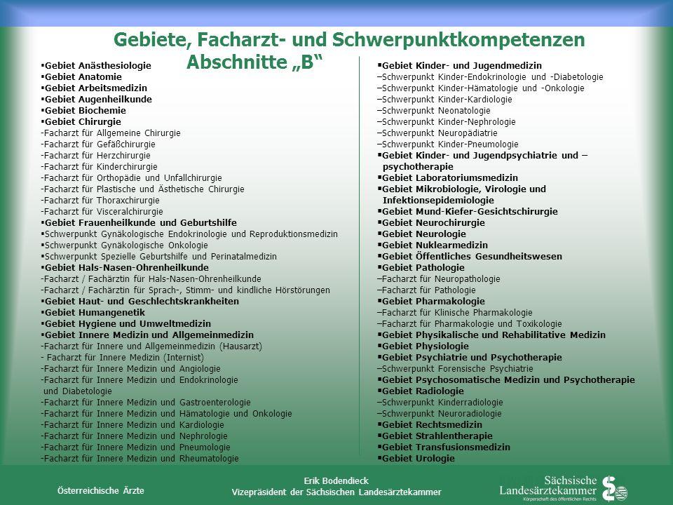 """Gebiete, Facharzt- und Schwerpunktkompetenzen Abschnitte """"B"""