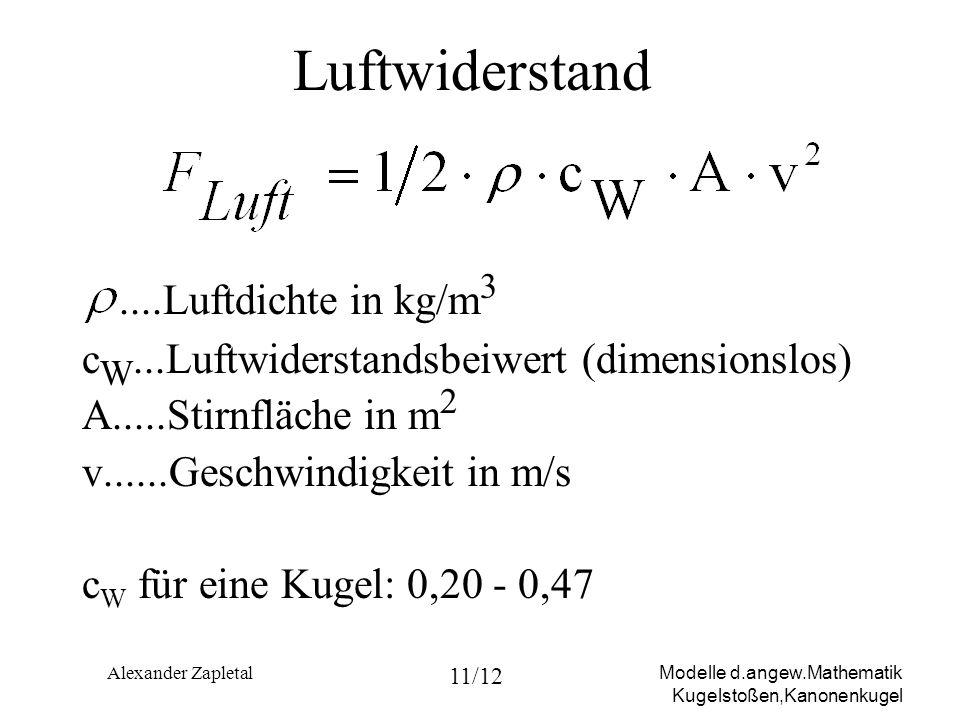 Luftwiderstand ....Luftdichte in kg/m3