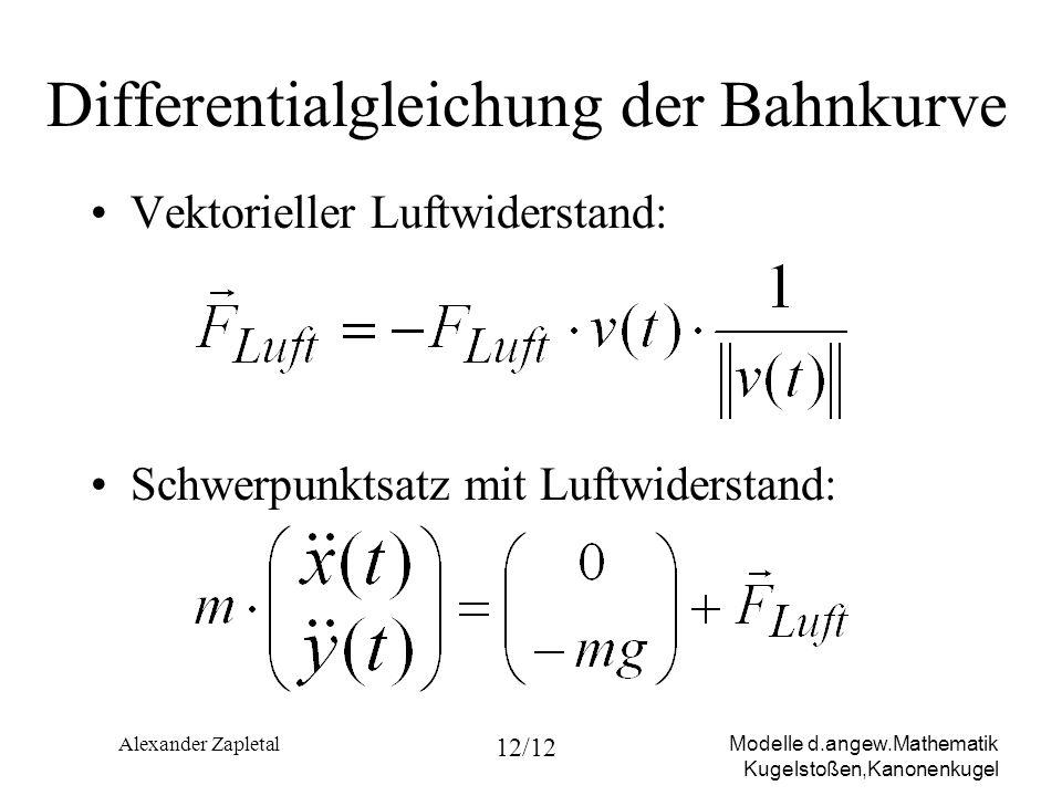 Differentialgleichung der Bahnkurve