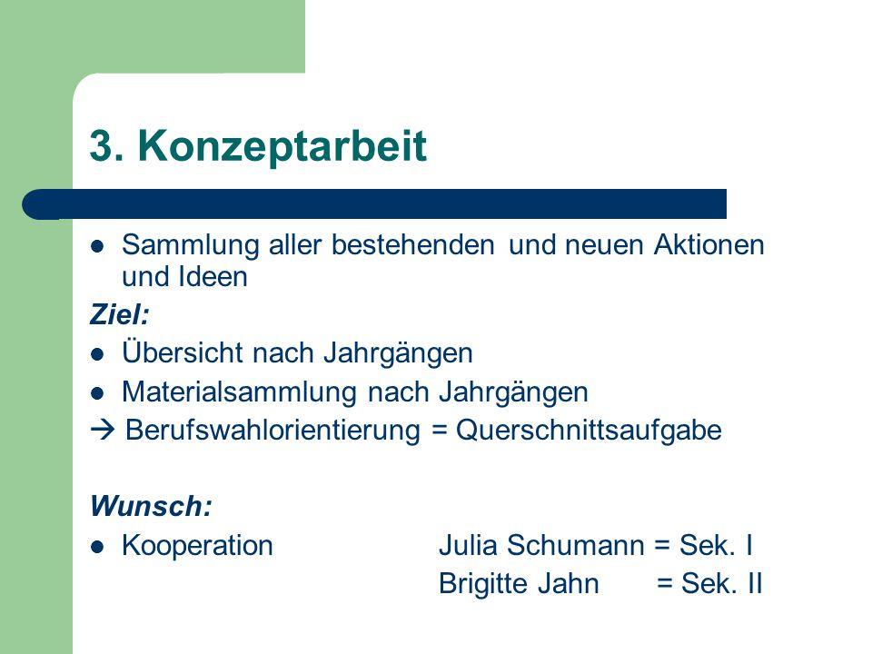 3. Konzeptarbeit Sammlung aller bestehenden und neuen Aktionen und Ideen. Ziel: Übersicht nach Jahrgängen.