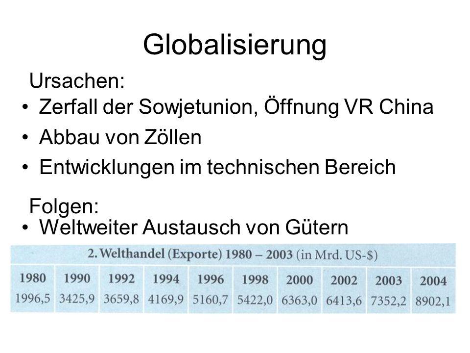 Globalisierung Ursachen: Zerfall der Sowjetunion, Öffnung VR China
