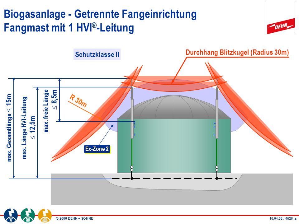Biogasanlage - Getrennte Fangeinrichtung Fangmast mit 1 HVI®-Leitung