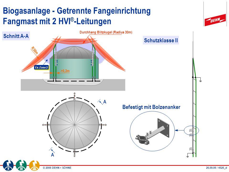 Biogasanlage - Getrennte Fangeinrichtung Fangmast mit 2 HVI®-Leitungen
