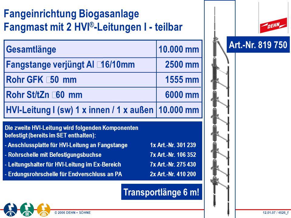 Fangeinrichtung Biogasanlage Fangmast mit 2 HVI®-Leitungen I - teilbar