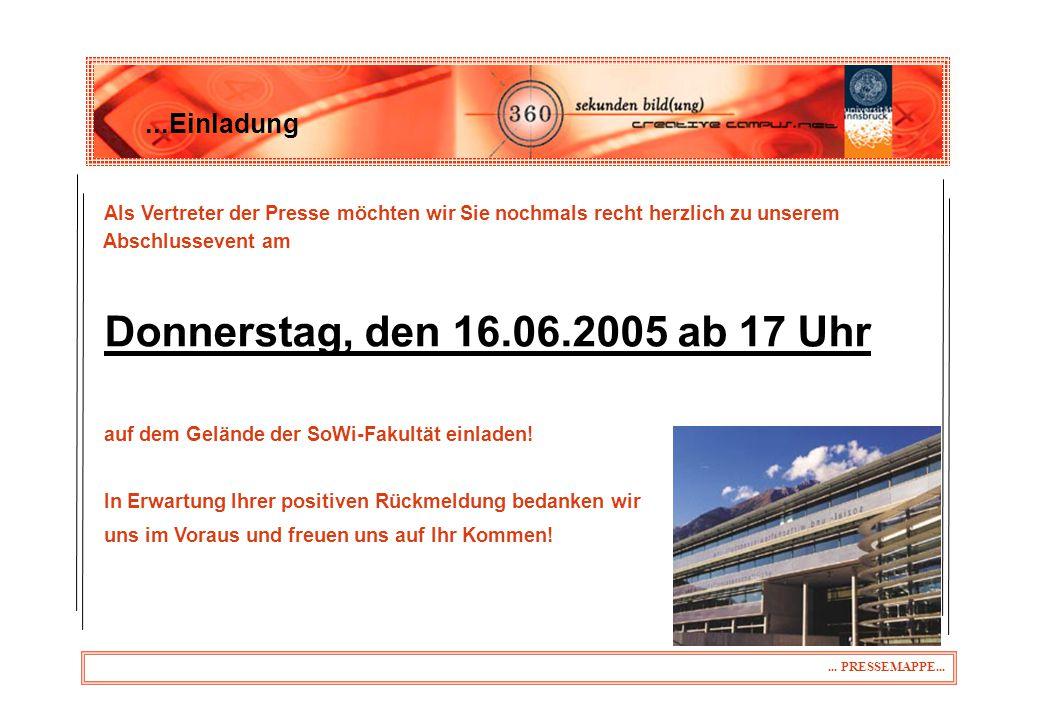 Donnerstag, den 16.06.2005 ab 17 Uhr ...Einladung