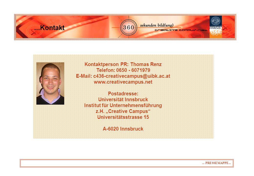 ...Kontakt Kontaktperson PR: Thomas Renz Telefon: 0650 - 6071979