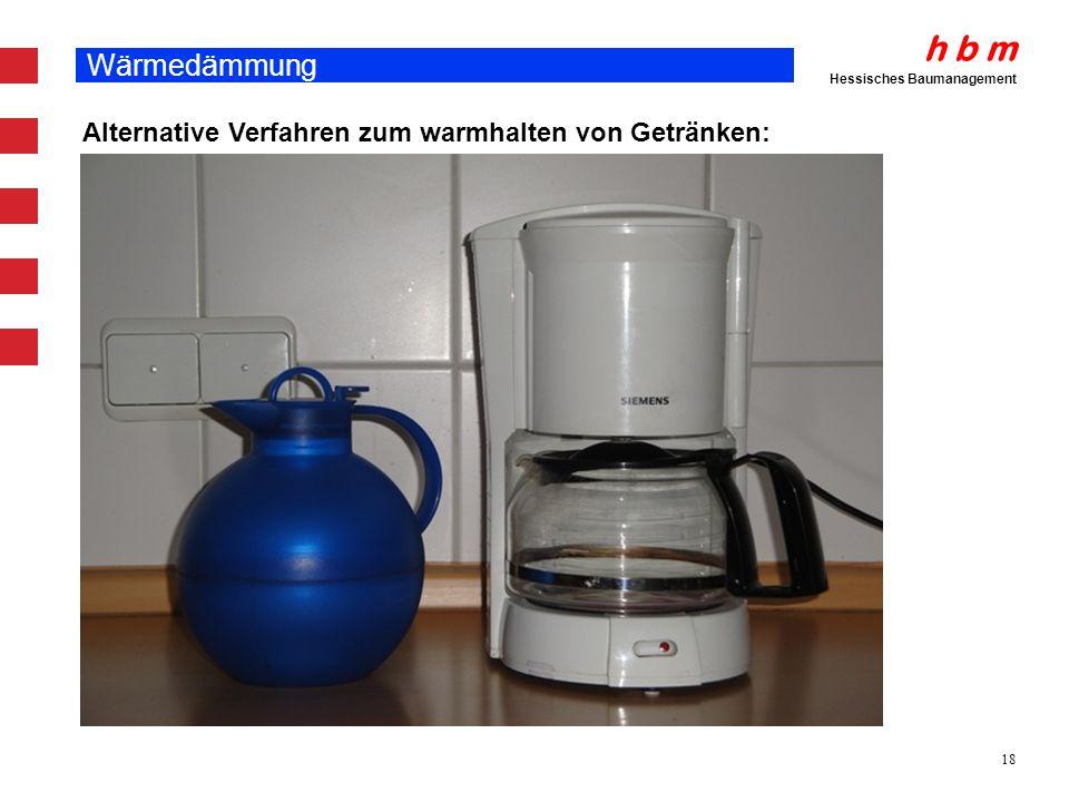 Wärmedämmung Alternative Verfahren zum warmhalten von Getränken: