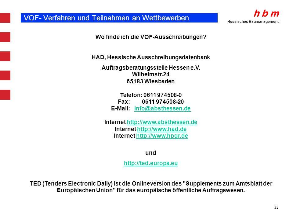 VOF- Verfahren und Teilnahmen an Wettbewerben