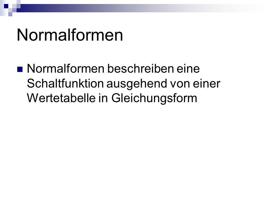 Normalformen Normalformen beschreiben eine Schaltfunktion ausgehend von einer Wertetabelle in Gleichungsform.