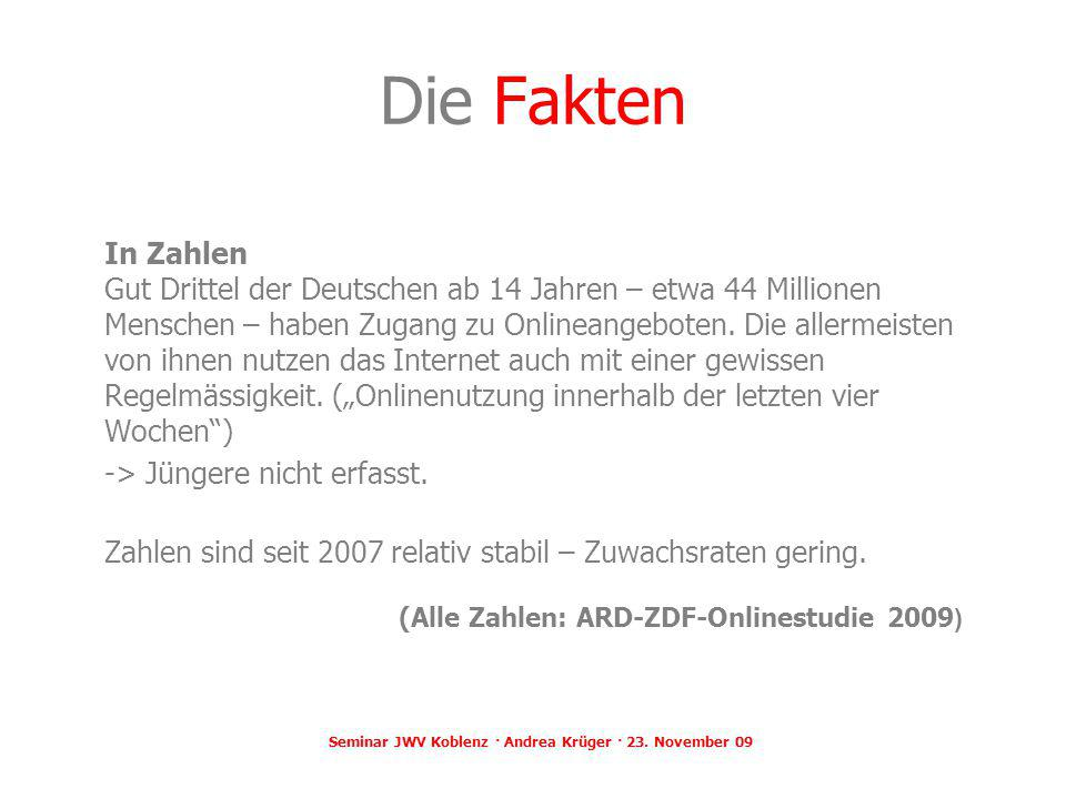 Seminar JWV Koblenz · Andrea Krüger · 23. November 09