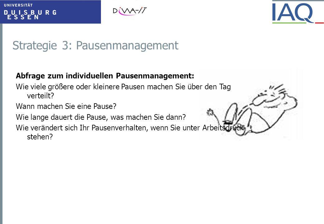 Strategie 3: Pausenmanagement