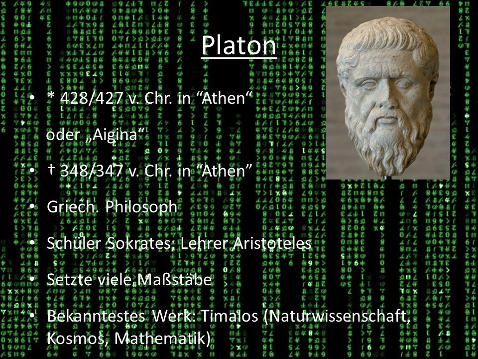 """Platon * 428/427 v. Chr. in Athen oder """"Aigina"""