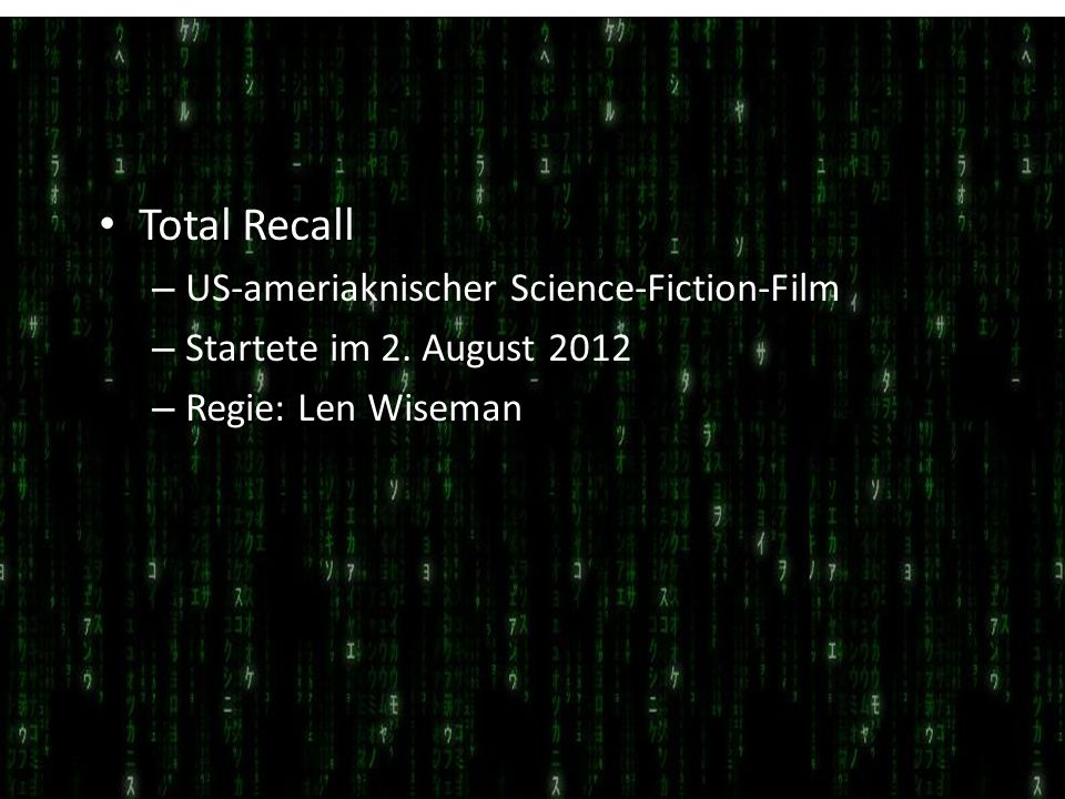 Total Recall US-ameriaknischer Science-Fiction-Film