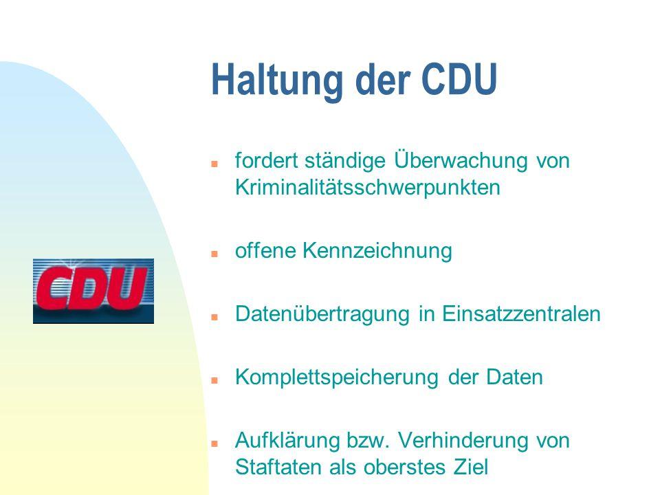 Haltung der CDU fordert ständige Überwachung von Kriminalitätsschwerpunkten. offene Kennzeichnung.