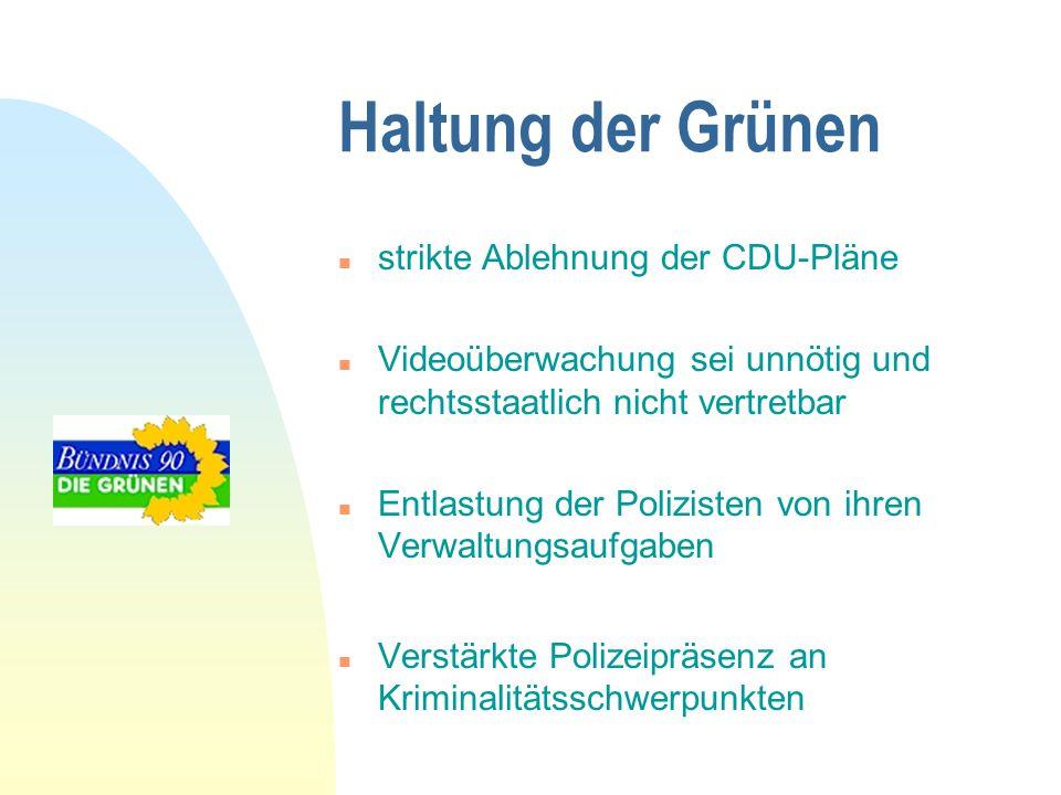 Haltung der Grünen strikte Ablehnung der CDU-Pläne