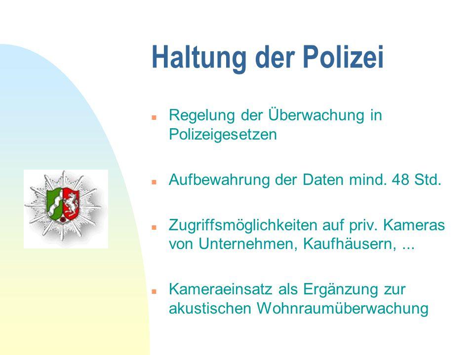 Haltung der Polizei Regelung der Überwachung in Polizeigesetzen