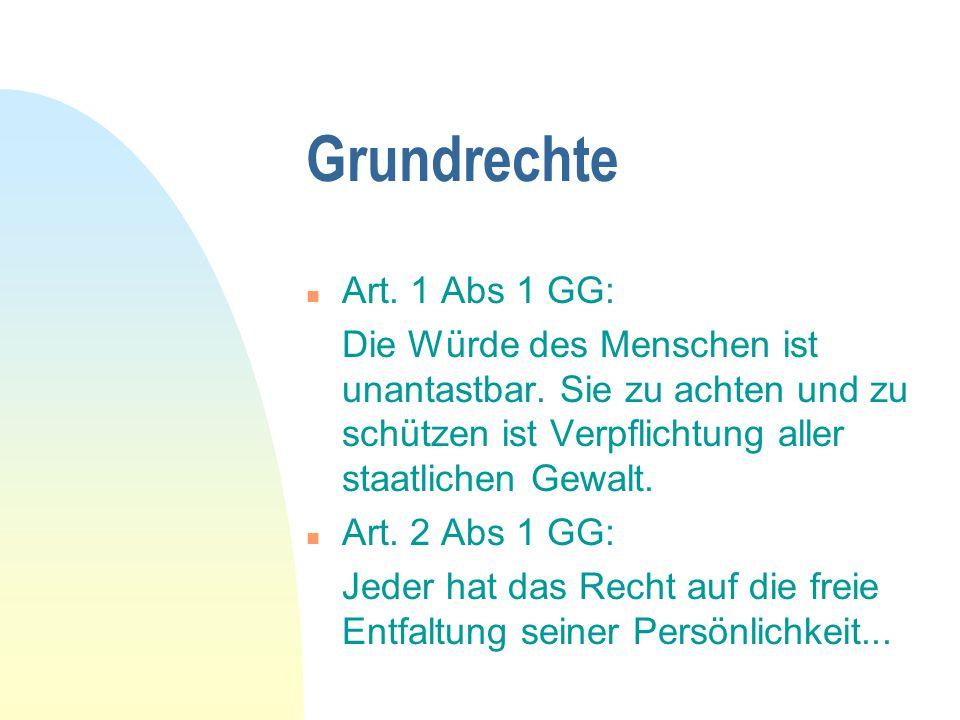 Grundrechte Art. 1 Abs 1 GG: