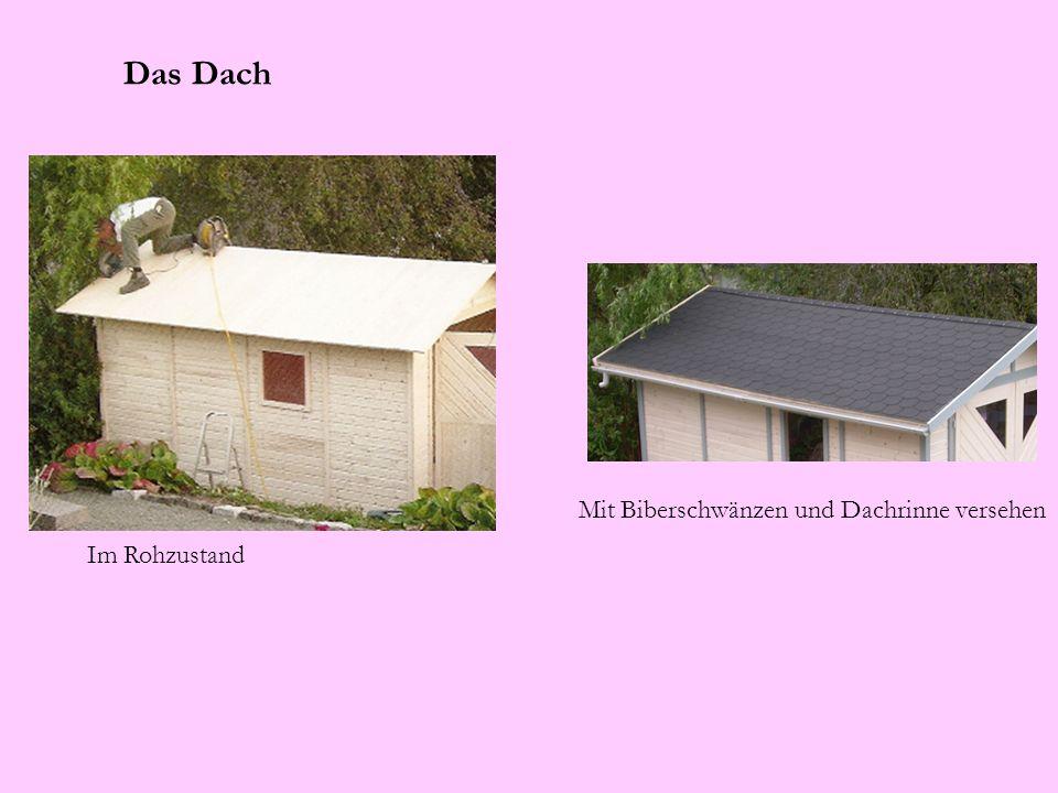 Das Dach Mit Biberschwänzen und Dachrinne versehen Im Rohzustand