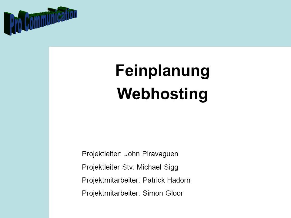 Feinplanung Webhosting