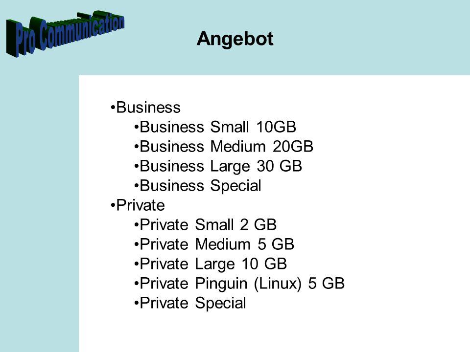 Angebot Business Business Small 10GB Business Medium 20GB