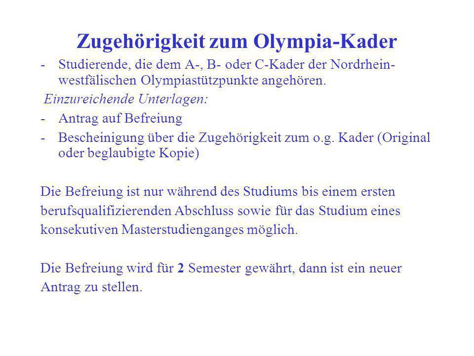 Zugehörigkeit zum Olympia-Kader