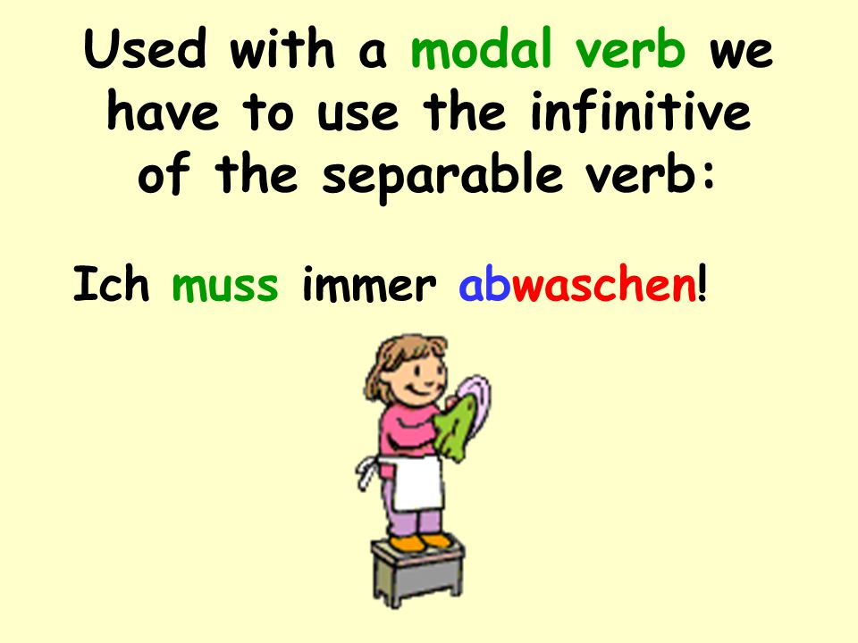 Used with a modal verb we have to use the infinitive of the separable verb: