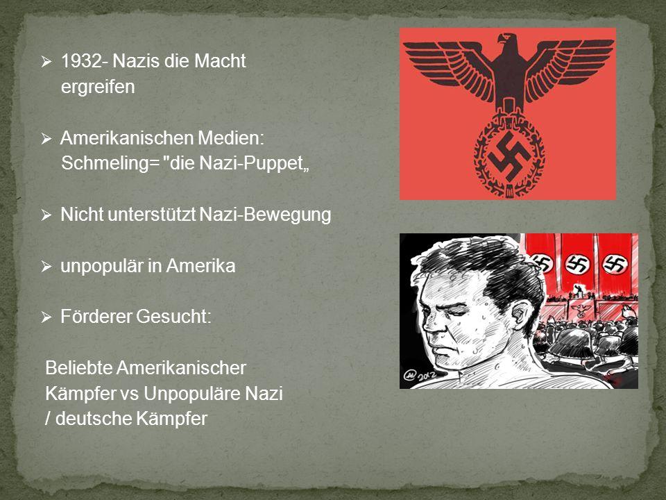 """1932- Nazis die Macht ergreifen. Amerikanischen Medien: Schmeling= die Nazi-Puppet"""" Nicht unterstützt Nazi-Bewegung."""