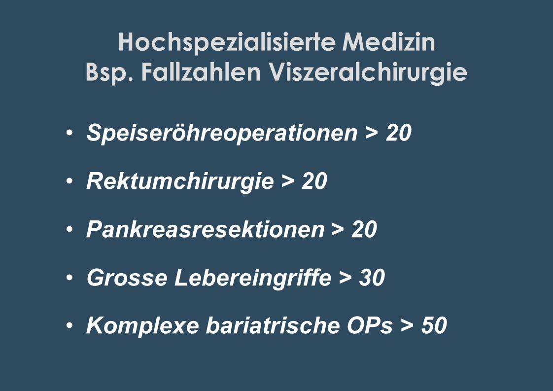 Hochspezialisierte Medizin Bsp. Fallzahlen Viszeralchirurgie