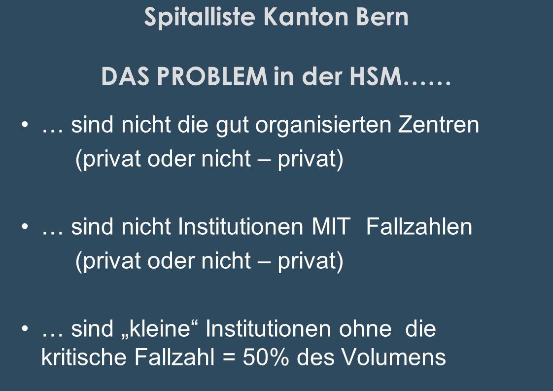 Spitalliste Kanton Bern DAS PROBLEM in der HSM……