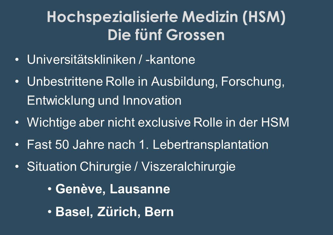Hochspezialisierte Medizin (HSM) Die fünf Grossen