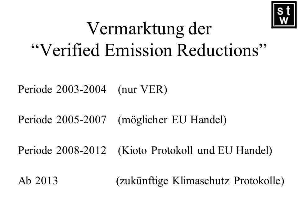 Vermarktung der Verified Emission Reductions