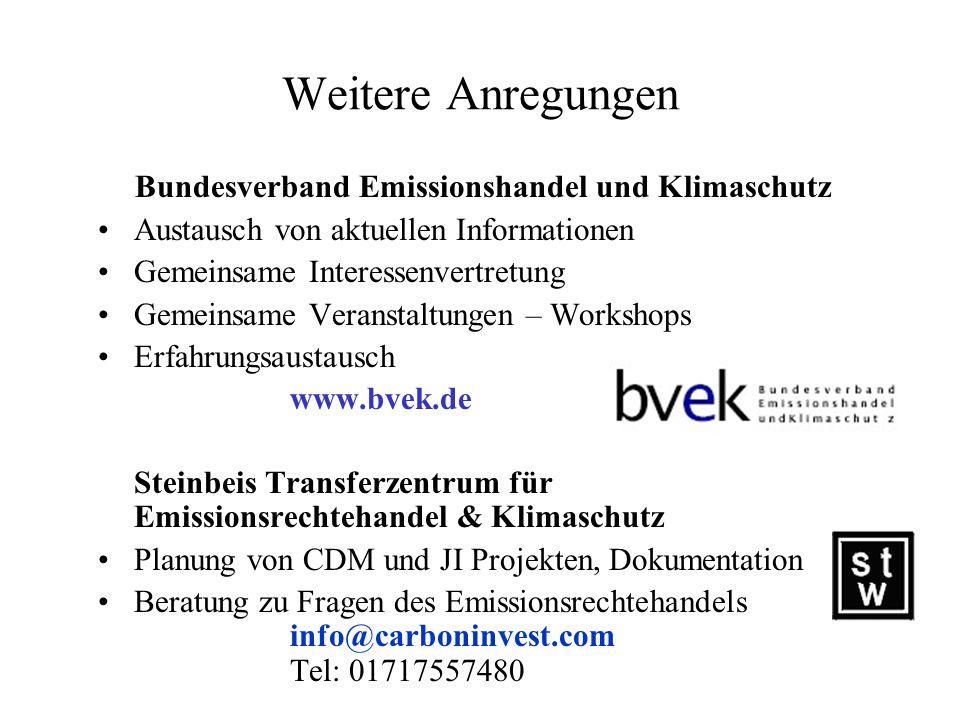 Weitere Anregungen Bundesverband Emissionshandel und Klimaschutz